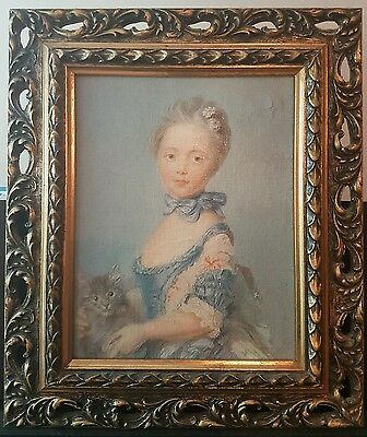 FRENCH antique oil painting lady with cat