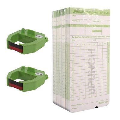 uPunch 2 Pack Ribbon/200 Card Combo for Green HN3000 AutoAlign Time Clocks