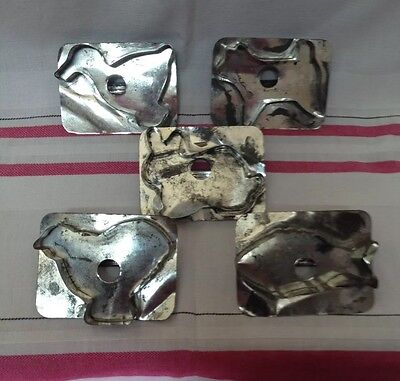Lot Of 5 Vintage Tin Cookie Cutters Fish Rabbit Chick Duck Dog Primitive