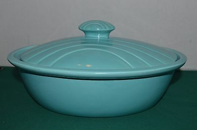 Vintage 1957 MIRAMAR of California OVAL TURQUOISE COVERED CASSEROLE Mint