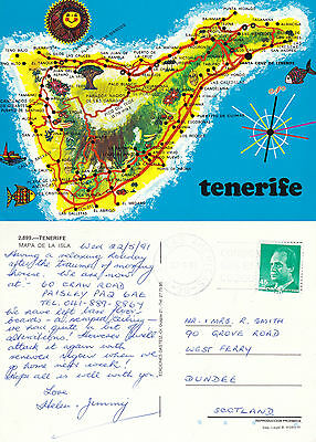 1991 Map Of Tenerife Canaries Spain Colour Postcard