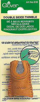 Clover Double Sided Thimble Leather Sewing Needle Craft Hobby CL616
