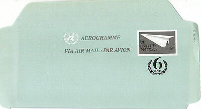 UNITED NATIONS 1987 VERY SCARCE 30c + 6c AIRLETTER  MINT / UNUSED NEW YORK