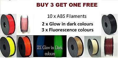 10 Pcs 100m modeling Stereoscopic 1.75mm ABS Filament for 3D Printer Drawing Pen