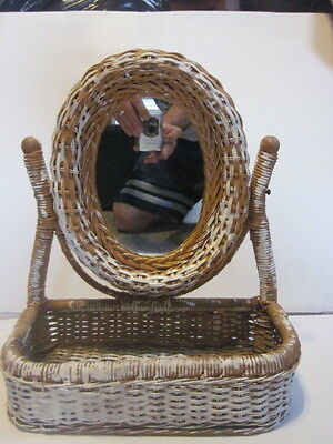 Vintage Shabby Chic Whicker Vanity Mirror & Basket Combo