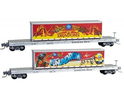 Micro-Trains Line 52400150 Ringling Bros Barnum Bailey Flat Car 2 Pack Z Scale