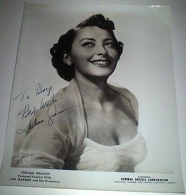 Thelma Gracen Signed Autograph Photo Picture General Artists Corp Jan Garber