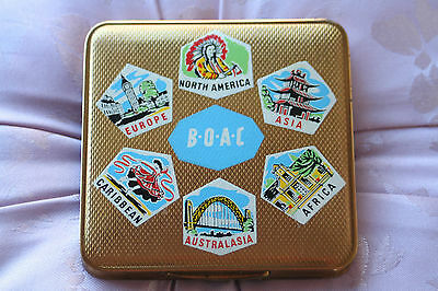Rare Vintage BOAC Gold Tone Powder Compact 1950s with Colourful Travel Stickers