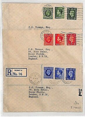 I208 1937 (3 Items) London GB Registered Letter