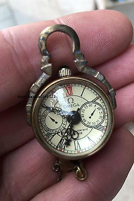 CHINESE OLD BRASS GLASS Pocket Watch BALL Clock 02