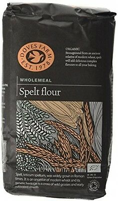 Doves Farm Organic Wholemeal Spelt Flour 1 kg (Pack of 5)