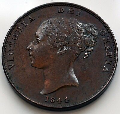 Victoria 1844 Young Head Copper Penny.     (SN)