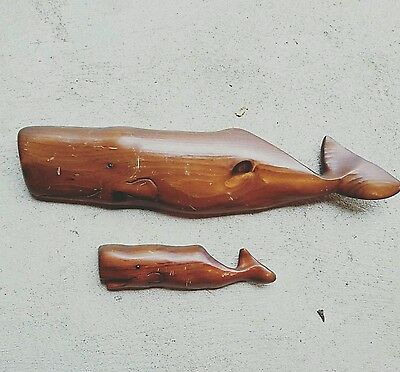 Vintage Midcentury Edgecombe Made In Maine Carved Whale Wallhanging Set