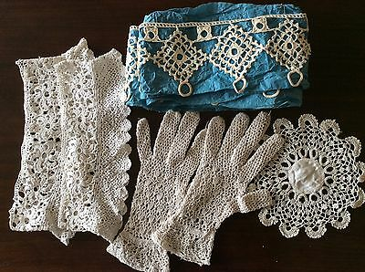 INTERESTING Selection Vintage Crochet Trimming 1.4 Metres gloves cuffs etc.