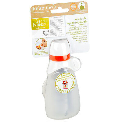 Infantino Fresh Squeezed Reusable Squeeze Pouch Baby Food Puree Feeder