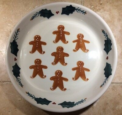 "10"" Gingerbread Boy Cookie HARTSTONE Pottery Baking Pie Plate EUC USA Christmas"