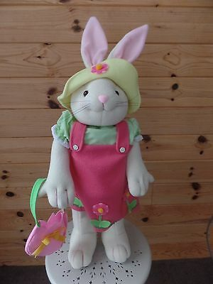 "EASTER BUNNY 32"" tall plush girl PORCH Door GREETER  pink jumper purse in hand"