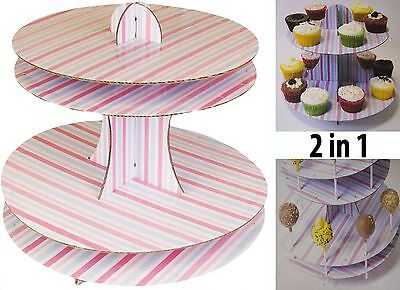 2 In 1 Cake Pop & Cupcake Muffin Display Stand Universal Party Decor New