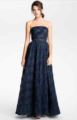 NEW $279 Adrianna Papell Strapless Soutache Gown (Size 6) Navy