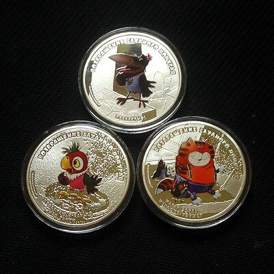3 X Silver Plated Coin 2012 The Return Of The Prodigal Parrot Cat/Kesha/Crow