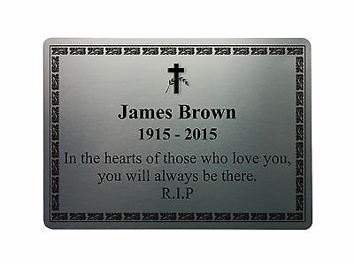 MEMORIAL PLAQUE 9 Metal Aluminium Sign Plate Plaques Custom Personalised Funeral