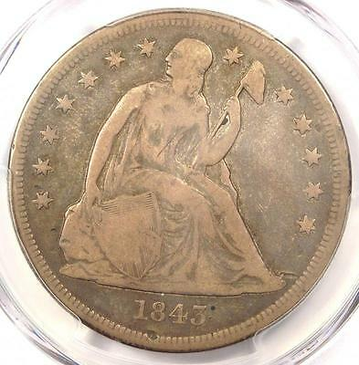 1843 Seated Liberty Silver Dollar $1 - PCGS Fine Details - Rare Certified Coin!