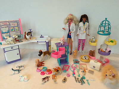 Barbie Dolls Pet Clinic Assorted pets Structures and accessories lot