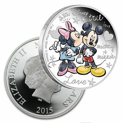 1 Oz Silver Plated Coin 2015 Disney Crazy In Love Mickey Mouse & Minnie