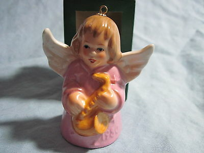1980 Goebel ANGEL BELL ORNAMENT Pink with Saxophone in Box FREE SHIPPING