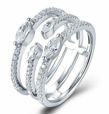 .925 Sterling Silver CZ Triple Band Fashion Cocktail Ring Women Size 3-14 Ss2191