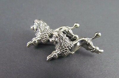 Vintage Repousse Formed Sterling Silver Running Poodles Brooch Pin Beau .925