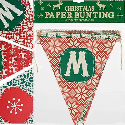NORDIC Merry Christmas Paper BUNTING GARLAND DECORATION ROOM WALL HANGING