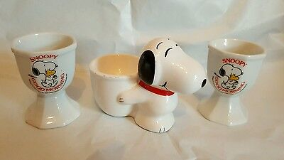 3 x SNOOPY egg cups vintage 80's/90's