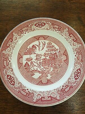 Vintage ROYAL CHINA Pink Red Rosa WILLOW WARE Set of 4 Dinner Plates 10 inches