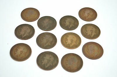 Bundle / Job Lot of 1912 - George V - One Penny - 12 coins