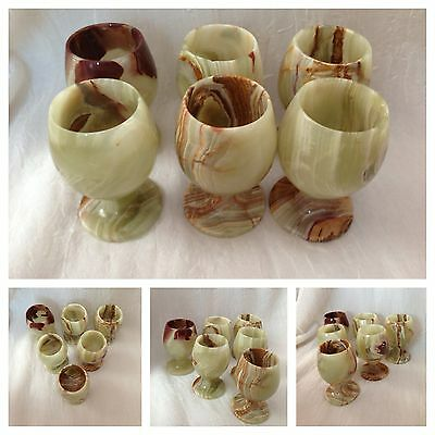 Set Of 6 Rare Onyx Marble Natural Stone Cups Goblets Collectable