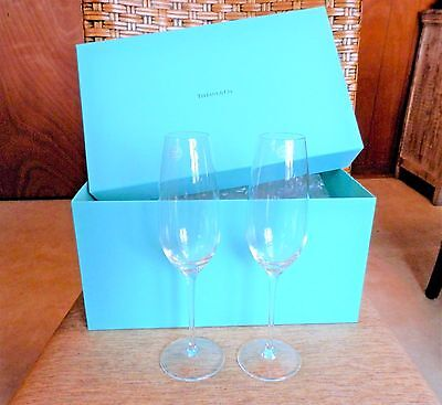 Pair Of Tiffany & Co Champagne Flutes--50 Year Member American Express--Nib