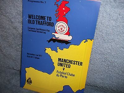 Man United V Porto 2-11-1977 Euro Cup Winners Cup Football Programme