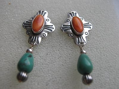 Sterling Silver Coral and Turquoise Drop/Dangle Earrings