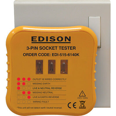 Edison 3-Pin Socket Tester For 230V Ac Circuits