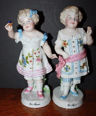 Antique 19th Century German Porcelain Figurines Boy and Girl