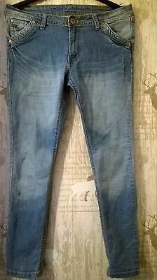 Ladies FALMER The skinny, stretch jeans.Embroidered details size 14 L 30