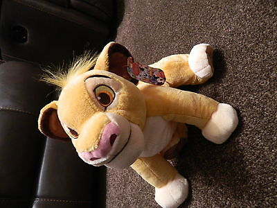 """*New with Tags* Disney Store The Lion King Simba Soft Beanie Plush - approx 15"""""""
