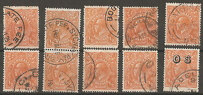 1926/36  1/2d  ORANGE X 10 FOR SORTING.  GOOD TO FINE USED