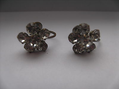 1940's Vintage American Clear Diamante Post Earrings (Not Reproduction)