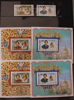 Royal Wedding 1981 Charles and Diana Djibouti Perf Set Perf, Imperf Mini Sheets