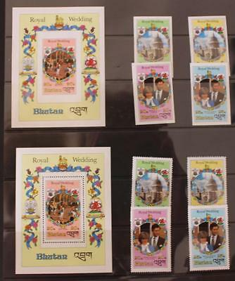 Royal Wedding 1981 Charles and Diana  Bhutan Perf and Imperf Sets and Mini Sheet