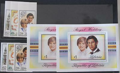 Royal Wedding 1981 Charles and Diana Liberia Imperf and Perf Sets and Mini Sheet