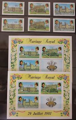Royal Wedding 1981 Charles and Diana  Comoros Islands Perf and Imperf Sets MNH