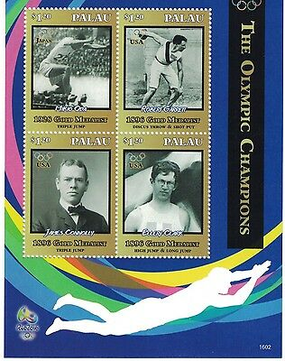 [D*] Palau - 2016 Olympics Rio, 1896 Gold Medalists - Sheet of 4 MNH
